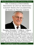 Chamber Honors Charles Chrietzberg Monterey County Bank Celebrating 25 Years in Pacific Grove